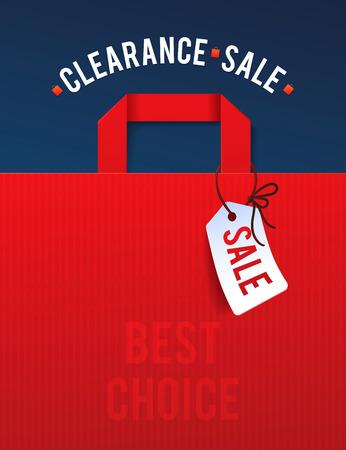 クリアランス セール ポスター パーセント割引。紙のショッピング バッグとライトのイラスト