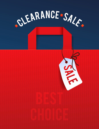 sale sign: Clearance Sale Poster with percent discount. Illustration of paper shopping bags and lights