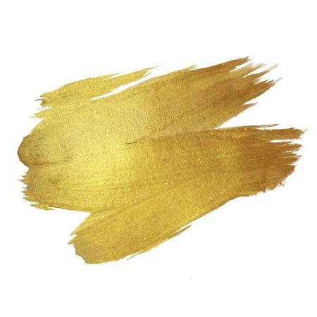 the brush: Oro de la pintura brillante mancha de ilustraci�n dibujados a mano Foto de archivo