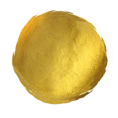 Gold Round Shining Paint Stain Hand Drawn Illustration Banque d'images