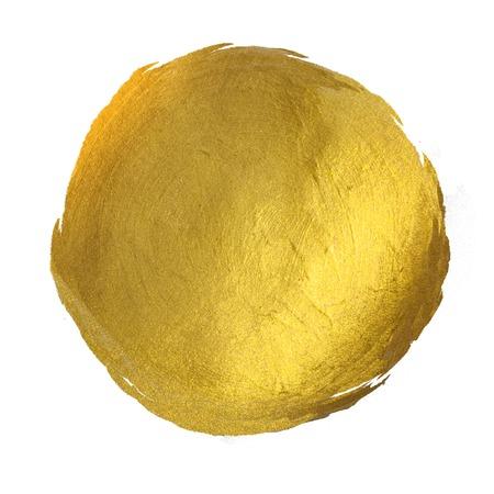 dorado: Ronda de oro brillante de la mancha de pintura ilustración dibujados a mano Foto de archivo