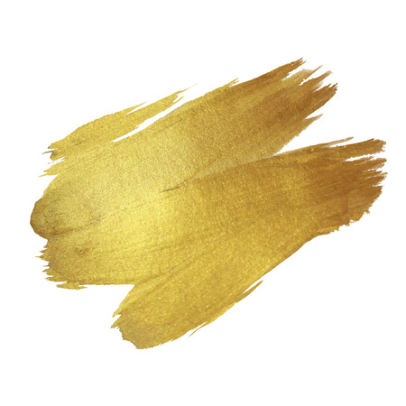brush paint: Gold Shining Paint Stain Hand Drawn Illustration