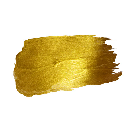 paint brush: Gold Shining Paint Stain Hand Drawn Illustration