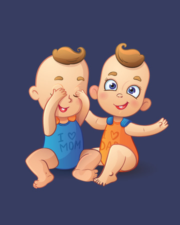 baby clothing: Twins cartoon fun baby boys playing each other