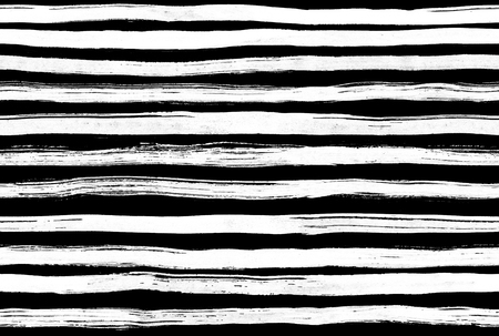 Black White ink abstract horizontal stripes  background. Hand drawn lines. Ink illustration. Simple striped background. Imagens - 45634567