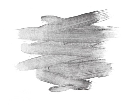 Silver metallic  watercolor texture paint stain abstract illustration. Shining brush stroke for you amazing design project Foto de archivo