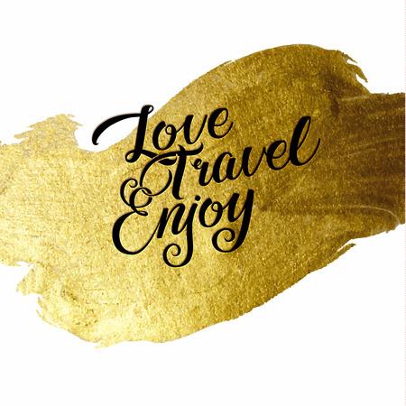 letras de oro: Hoja de oro en vivo Crear Disfruta ser caligr�fico mensaje positivo. Plantilla del cartel de Grunge. Las letras de la caligraf�a moderna. Arte de la pared para imprimir cotizaci�n. Cepillo letras