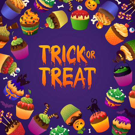 vile: Trick or Treat Scary Cupcake Happy Halloween Greeting Card