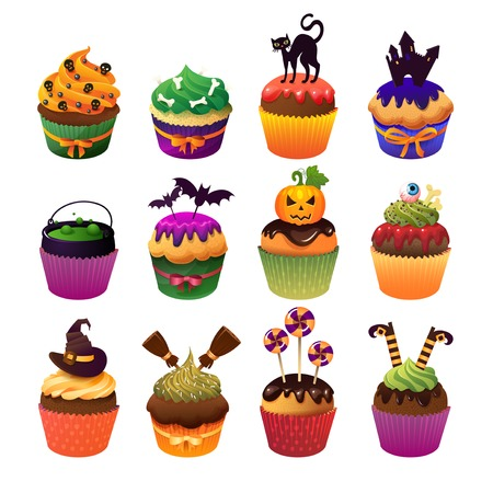 chocolate cupcake: Happy Halloween cupcake set Scary sweets to celebrate. Illustration