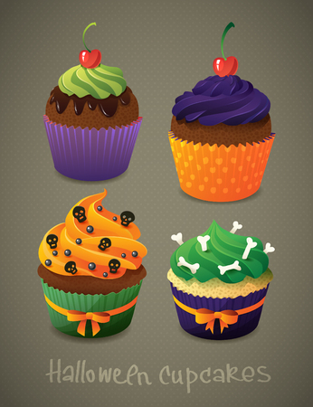 vile: Halloween cupcake set. Scary sweets to celebrate Halloween.