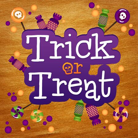 tratar: Trick or Treat Happy Halloween Greeting Card Gold Foil Background. Halloween trick or treat candies.