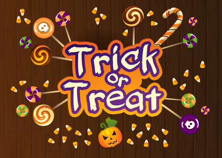 vile: Happy Halloween Trick or Treat Greeting Card With Sweets on Old Web Wood Background.