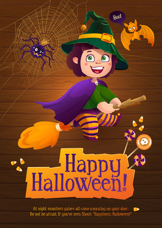 Happy Halloween Witch Girl Flying on Broom. Greeting Card with Cute Bat and Silly Spider.