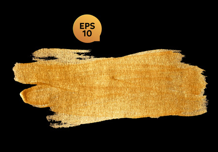 Gold watercolor texture paint stain abstract illustration black background. Shining brush stroke for you amazing design project. Ilustração