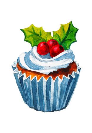 クリスマス水彩カップケーキ ベクトル図です。甘い休日  イラスト・ベクター素材