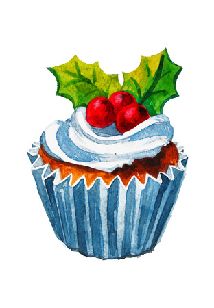 Christmas watercolor cupcake Vector illustration. Sweet holidays
