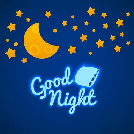 Good Night Bed Time Illustratie voor kinderen. Sterren, Maan, Kussen en Inschrijving