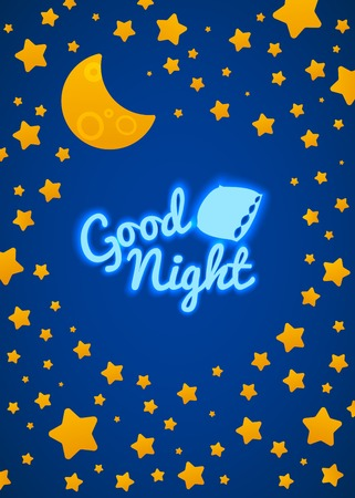 night sky: Good Night Bed Time Illustration for Children. Stars, Moon, Pillow and Inscription