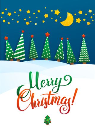 snowdrifts: Christmas Greeting Card. Merry Christmas lettering, vector illustration. Volume toys, Christmas trees and snowdrifts. Christmas decorations, greeting illustration