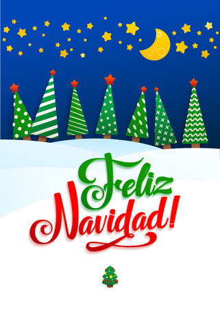 snowdrifts: Happy New Year Background Inscription Spanish Language  Greeting Card. Lettering, vector illustration. Volume toys, fir trees and snowdrifts. Holiday decoration Illustration