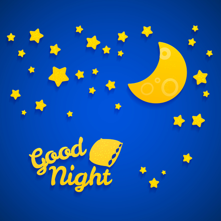 night sky: Good Night Bed Time Illustration for Children. Stars, Moon, Pillow and Inscription.