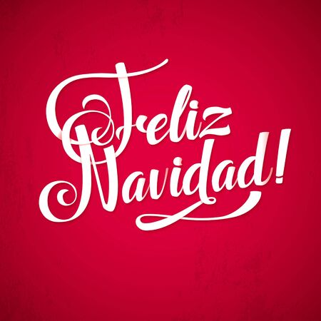 spanish language: Merry Christmas Red Background Inscription Spanish Language