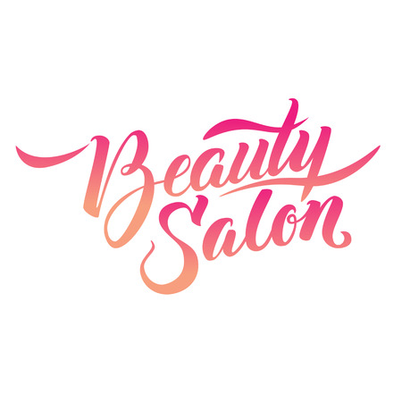 beauty girl pretty: Logo Beauty Salon Lettering. Custom handmade calligraphy, vector