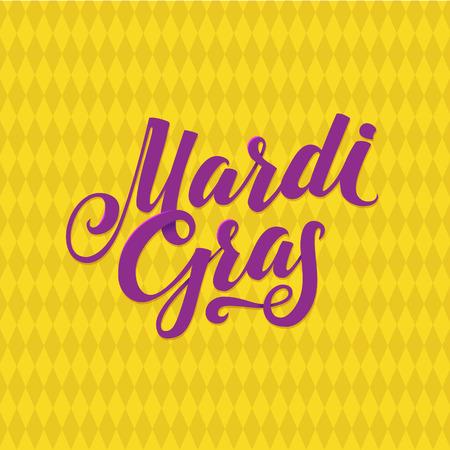 Mardi Gras Logo Calligraphic Poster. Carnival Mardi Gras type treatment