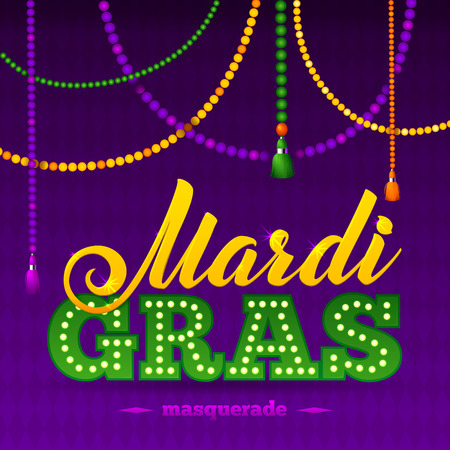 Mardi Gras Party Poster. Calligraphy and Typography Card. Beads Tassels and Fleur De Lis Symbol.  Holiday poster or placard template Vettoriali