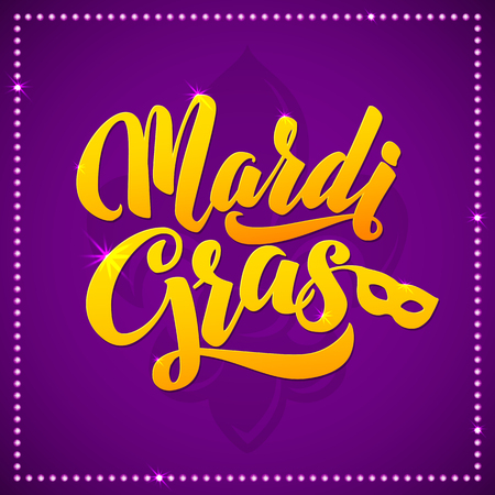 Mardi Gras Carnival Calligraphy Poster.  Vector illustration Calligraphic Greeting card. Mardi Gras type treatment