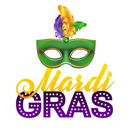Mardi Gras Party Mask Poster. Calligraphy and Typography Card. Lights and Feathers. Holiday poster or placard template Vectores