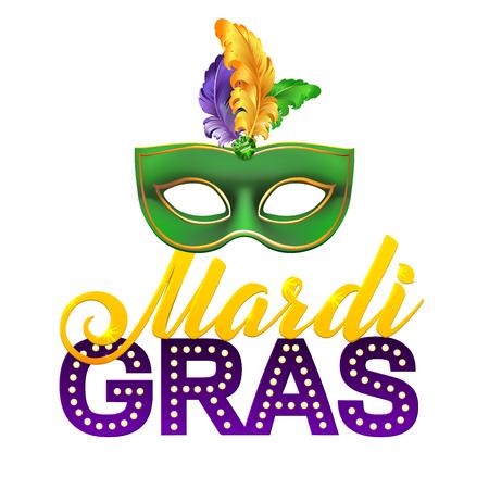 Partij van Mardi Gras Mask Poster. Kalligrafie en Typografie Card. Lights and Feathers. Vakantie poster of aanplakbiljet template Stock Illustratie