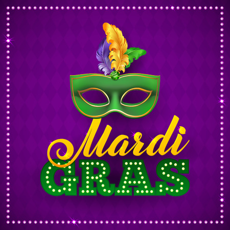 Mardi Gras Party Mask Poster. Calligraphy and Typography Card. Lights and Feathers. Holiday poster or placard template Illustration