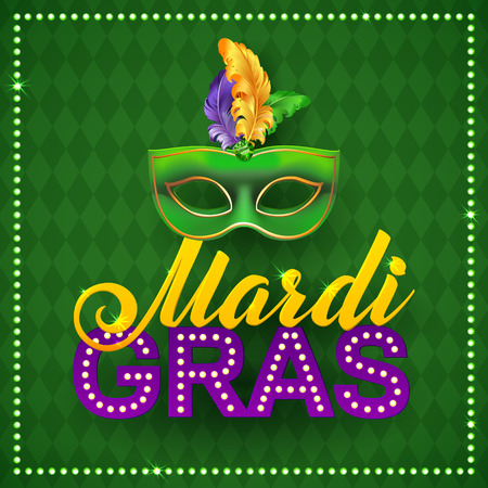 Mardi Gras Party Mask Poster. Calligraphy and Typography Card. Lights and Feathers. Holiday poster or placard template Ilustração