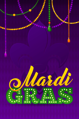 Mardi Gras Party Poster. Calligraphy and Typography Card. Beads Tassels and Fleur De Lis Symbol.  Holiday poster or placard template Ilustração