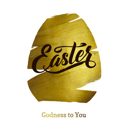 godness: Gold Foil Happy Easter Greeting Egg Card. White Background