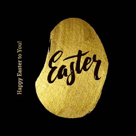 godness: Gold Foil Happy Easter Greeting Egg Card. Black Background
