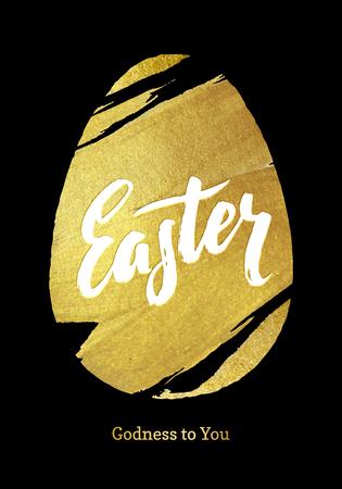 Gold Foil Happy Easter Greeting Egg Card. Black Background