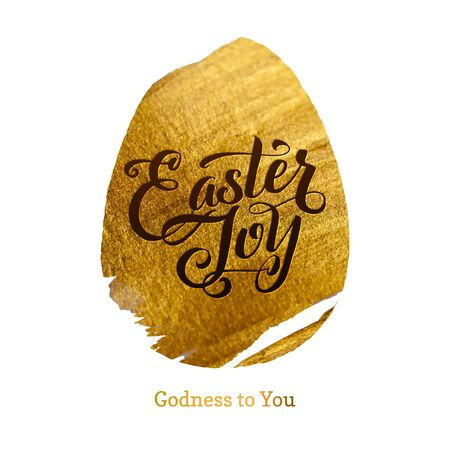 Gold Foil Happy Easter Greeting Egg Card. White Background Joyful wishes, holiday greetings Stock Photo