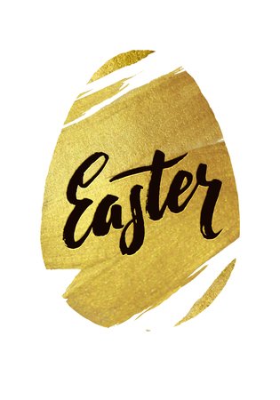 godness: Gold Foil Happy Easter Greeting Egg Card. White Background Joyful wishes, holiday greetings Stock Photo