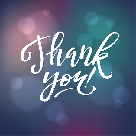 thank you card: Thank You Card Calligraphic Inscription. Hand Lettering and Gradients.