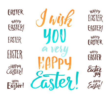 ostern: Happy Easter Calligraphic Inscriptions Set. Design your Unique Card