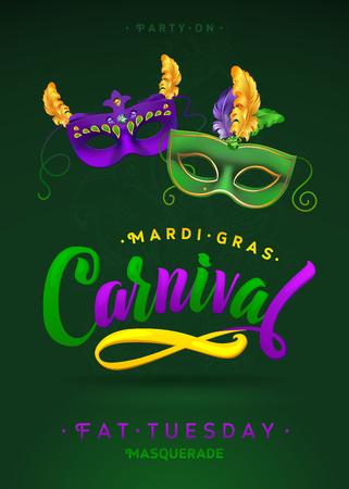 Mardi Gras Carnival Calligraphy Invitation Poster.  Vector illustration Template Ilustrace