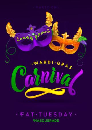 Mardi Gras Carnaval Kalligrafie Uitnodiging Poster. Vector illustratie Template Stock Illustratie