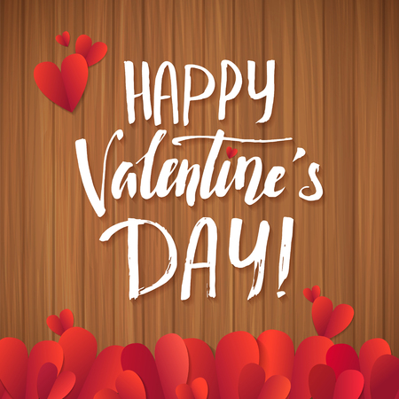 wood planks: Happy Valentines Day red lettering background Greeting Card. Wood Planks Table Illustration