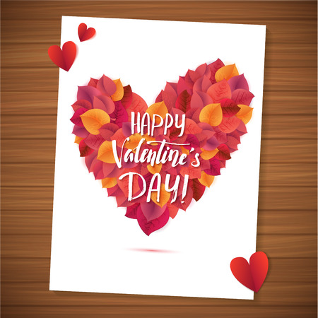 wood planks: Happy Valentines Day red lettering background Greeting Card. Wood Planks Table. Illustration