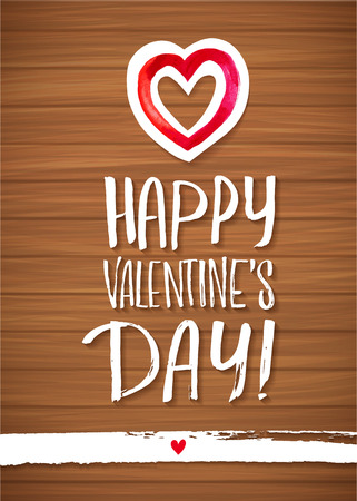 wood planks: Happy Valentines Day red lettering background Greeting Card. Wood Planks Table. A heart and white line