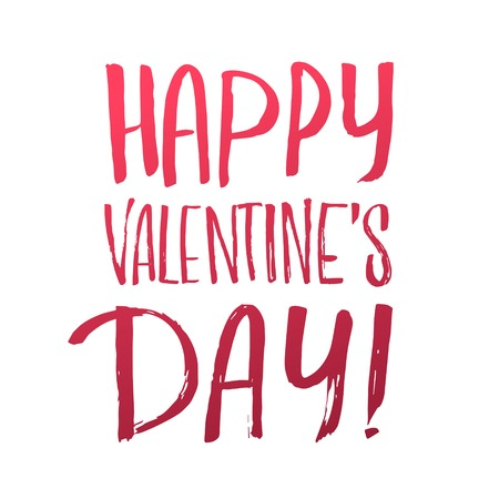 careless: Happy Valentines Day Careless calligraphic inscription in red letters on a white background.