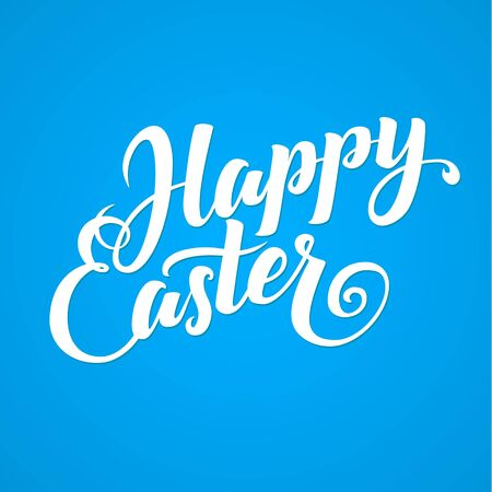 typographical: Happy Easter Typographical Background. Lettering, Calligraphy Card Illustration