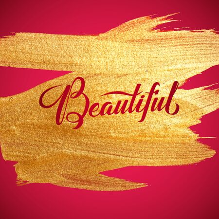 love gold: Beautiful. Gold Foil Red Calligraphy Red Poster